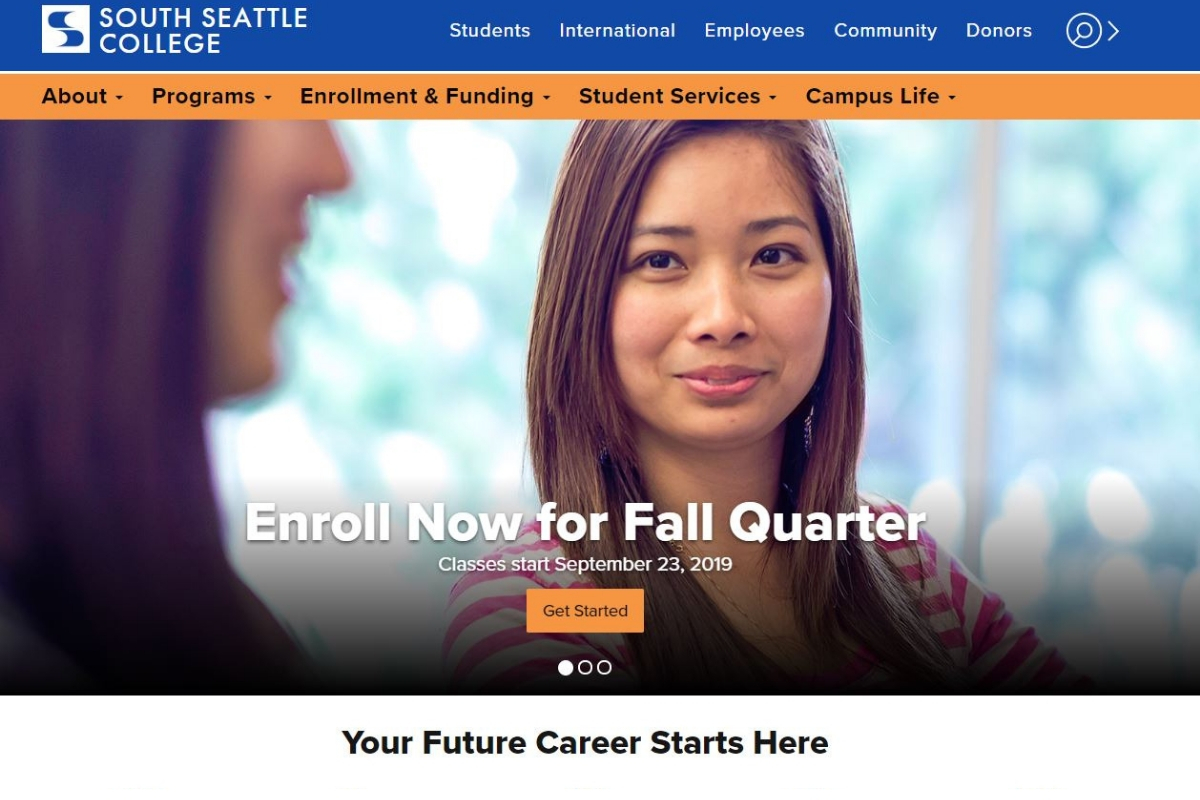 Screenshot of the new South Seattle College website
